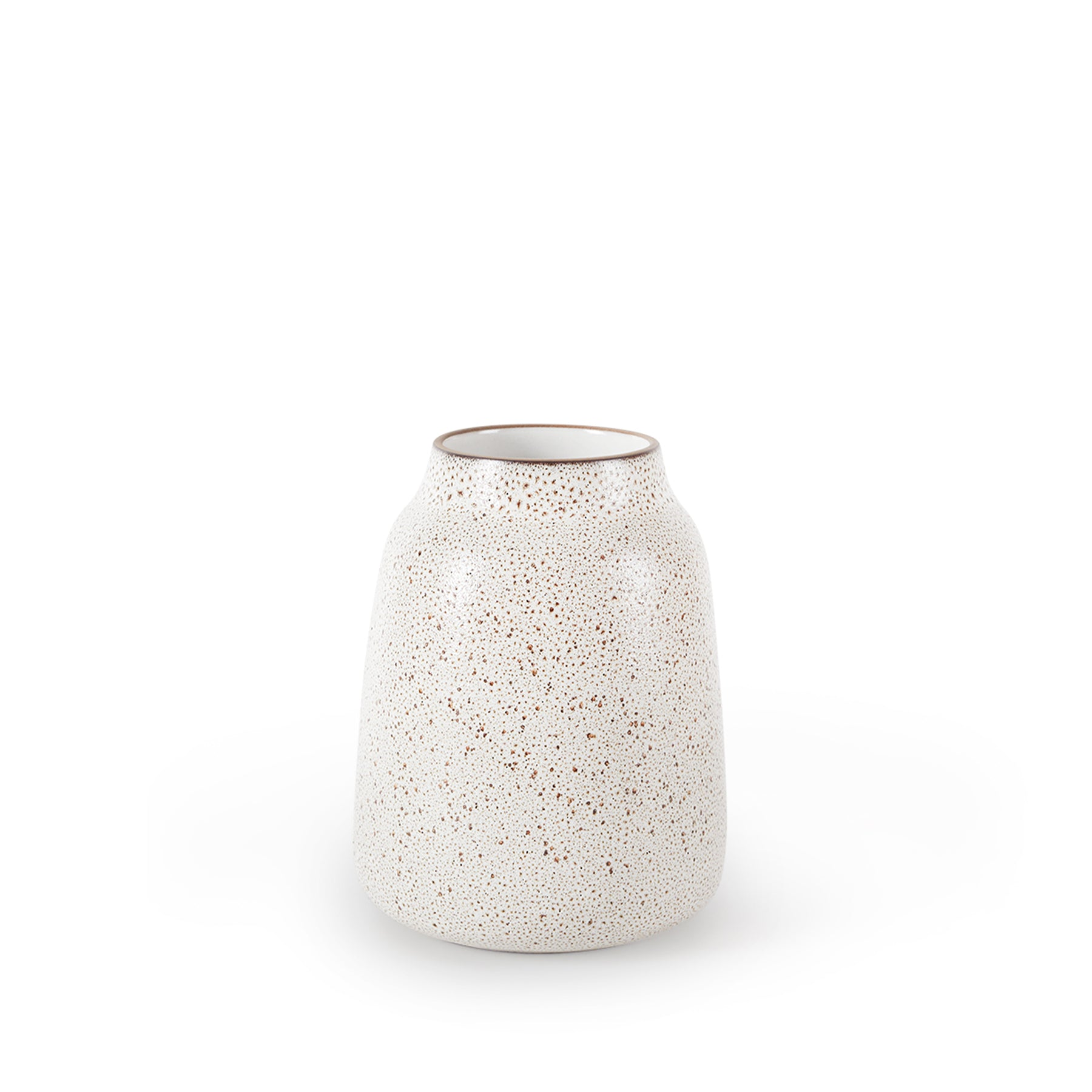 Wide Vase in Opaque White and Matte Brown Zoom Image 1