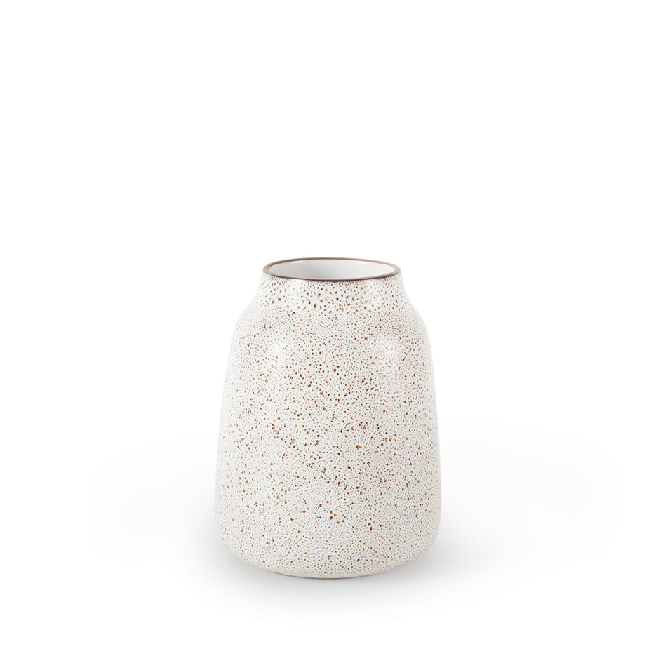 Wide Vase in Opaque White and Matte Brown Image 1