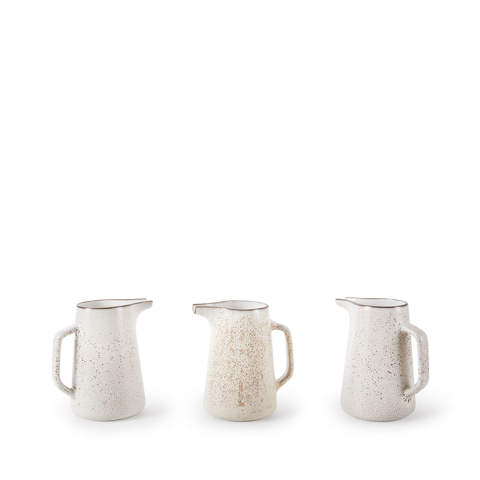 Large Pitcher in Opaque White and Matte Brown Image 3