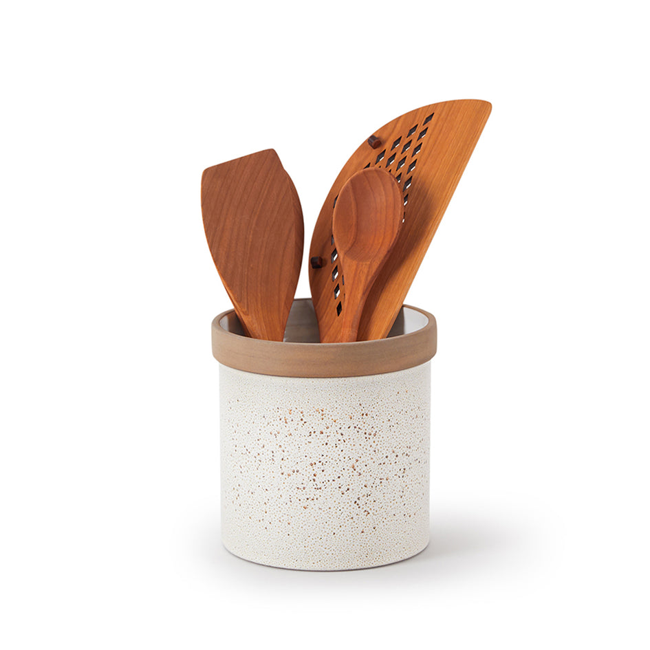 Utensil Crock in Opaque White and Matte Brown Image 2