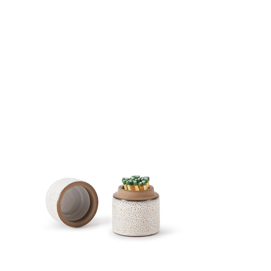 Matchstick Holder in Opaque White and Matte Brown Image 5