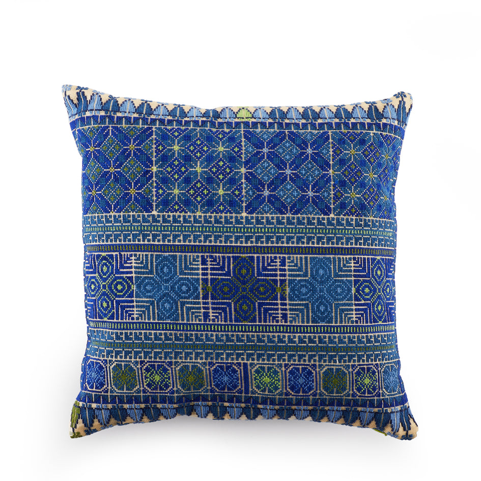 Moon and Feathers Pillow in Blue Image 1