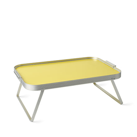 Bed Tray in Lemon Yellow with Silver Surrounds