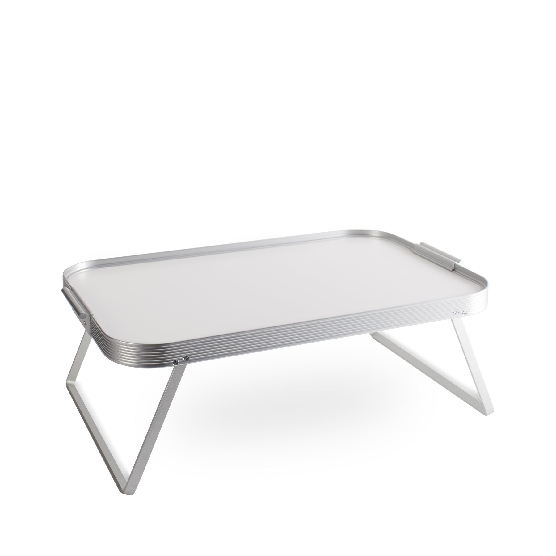 Bed Tray in White with Silver Surrounds Zoom Image 1