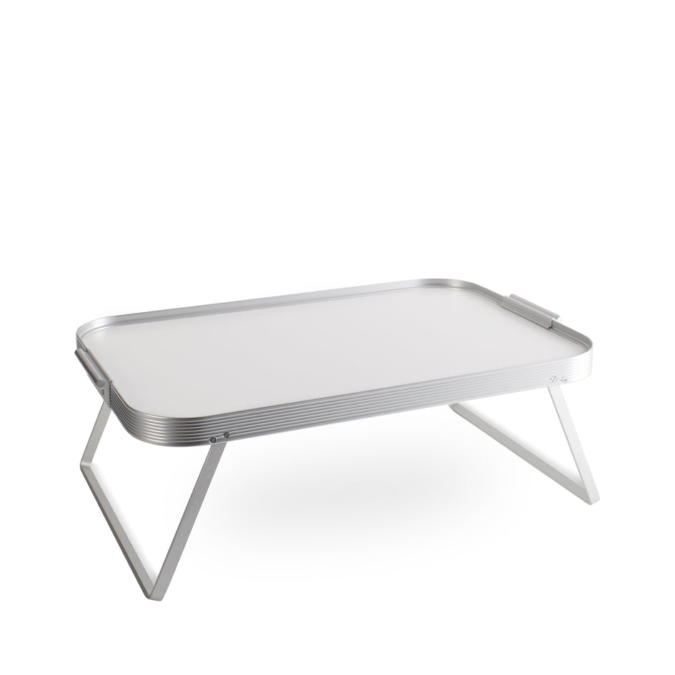 Bed Tray in White with Silver Surrounds Image 1