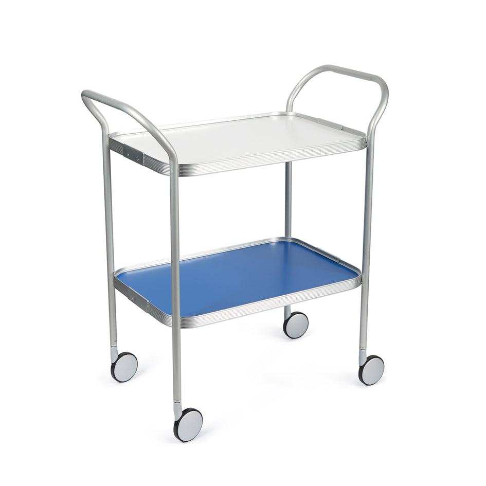 Silver Ribbed Two Tier Trolley Image 1