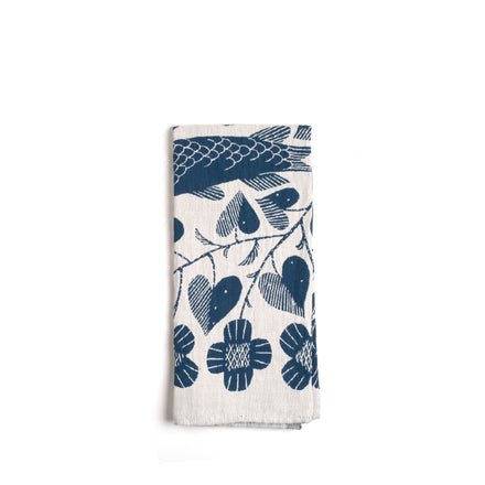 Kala Tea Towel in White and Blue