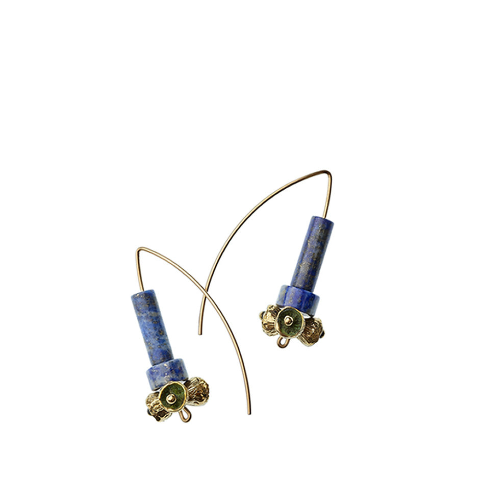 Lapis Lazuli Earrings with Yellow Bronze Pod Beads Image 1