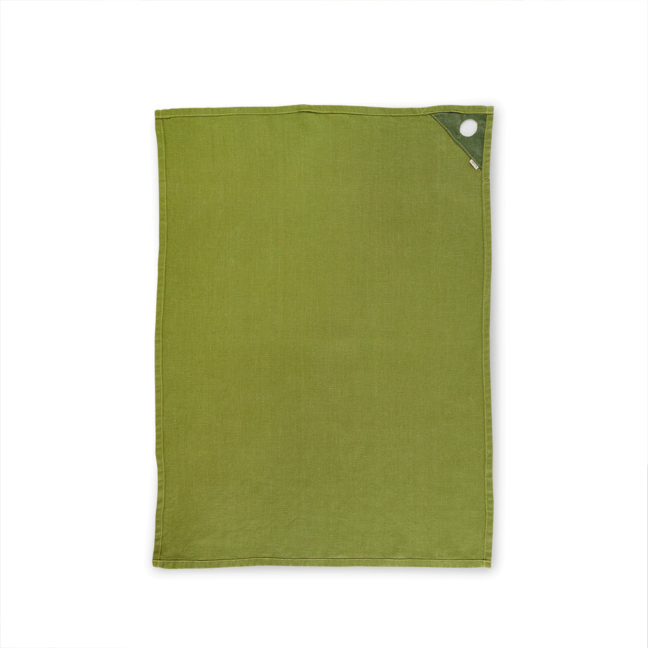 Linen Loop Tea Towel in Olive Zoom Image 2