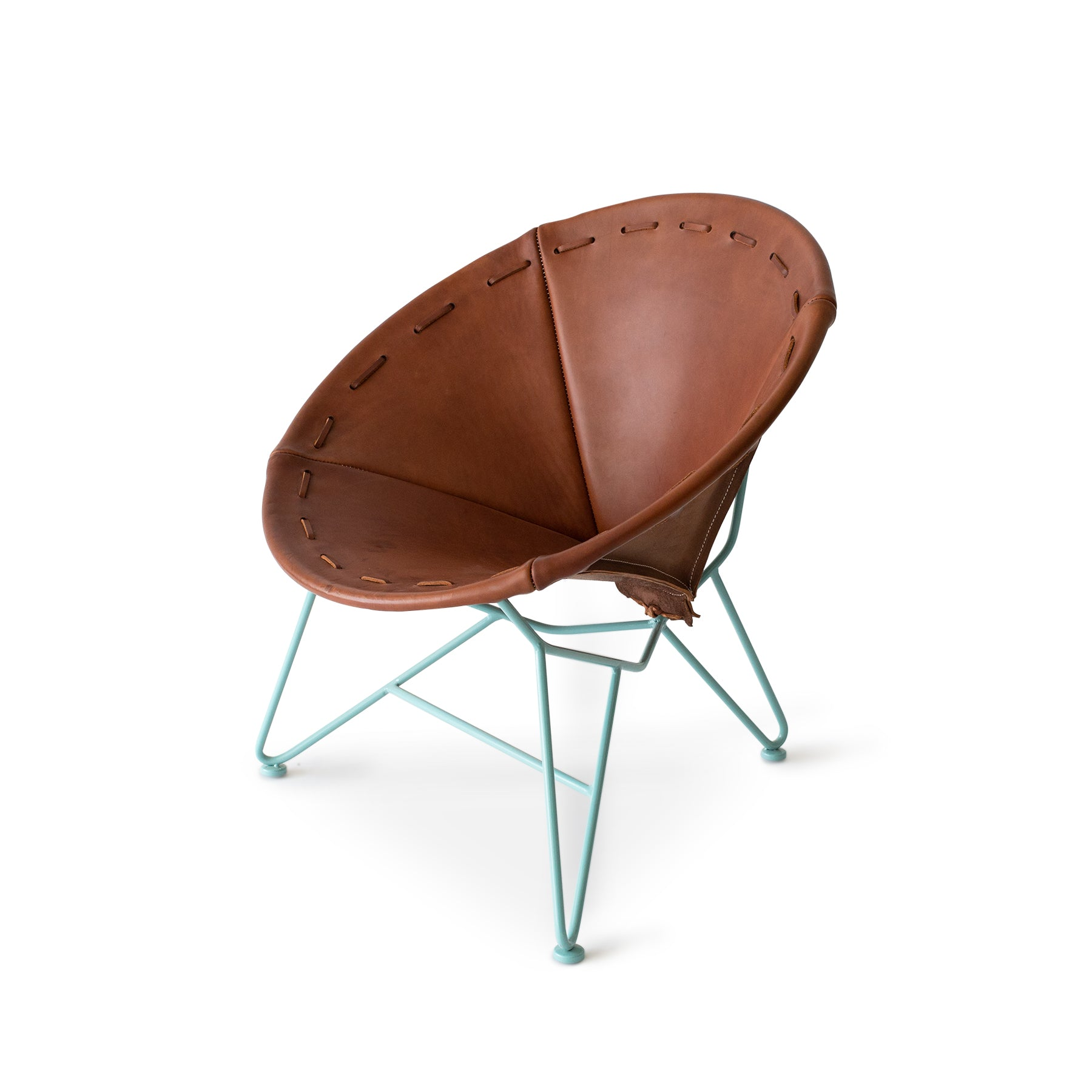 Saddle Leather Round Chair in Chocolate with Aqua Base Zoom Image 1