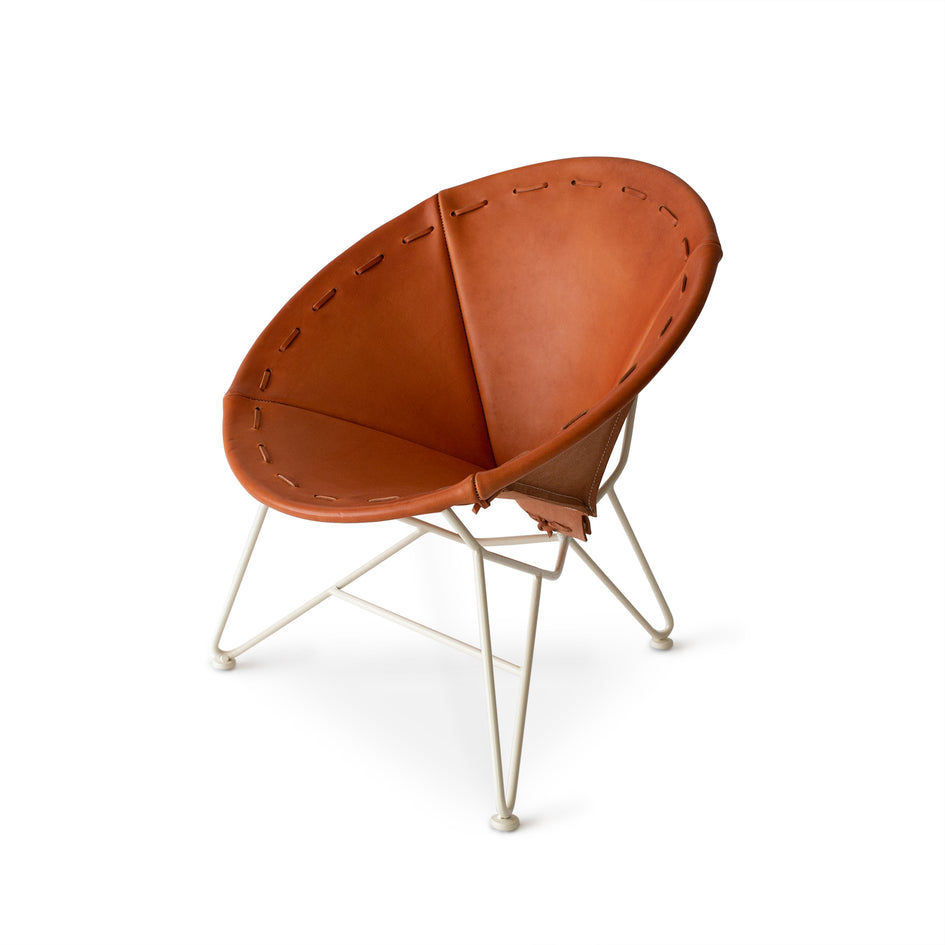 Saddle Leather Round Chair in Natural with Oyster White Base Image 1
