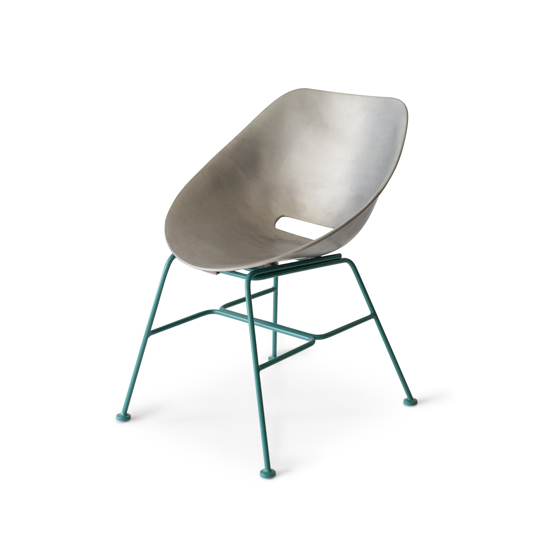 Aluminum Shell Chair with Turquoise Base Zoom Image 1