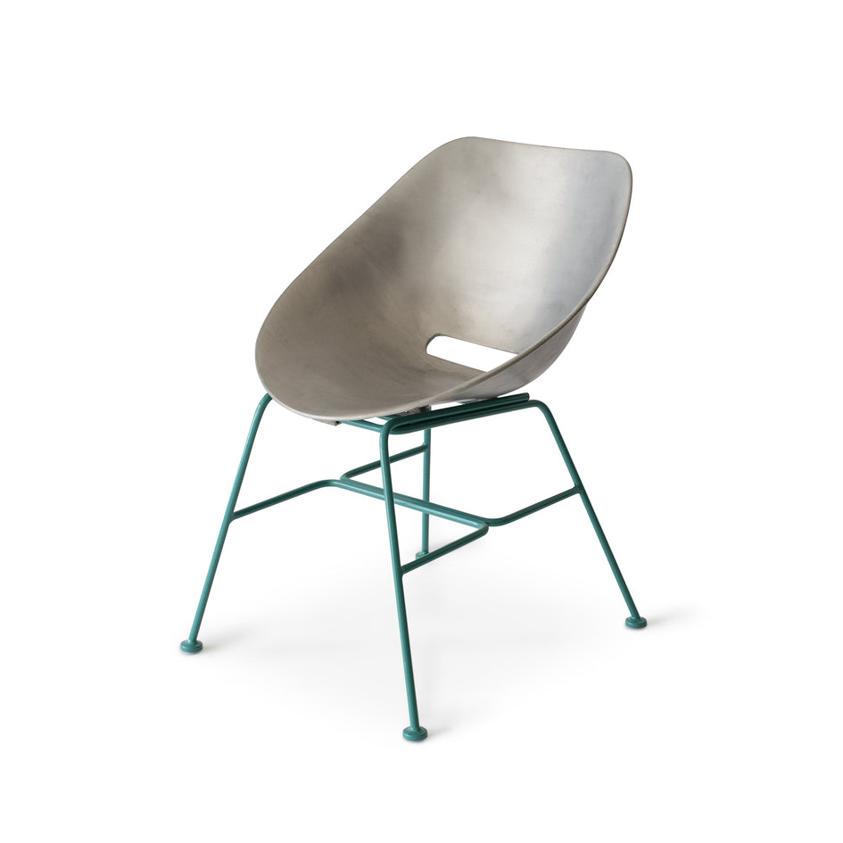 Aluminum Shell Chair with Turquoise Base Image 1