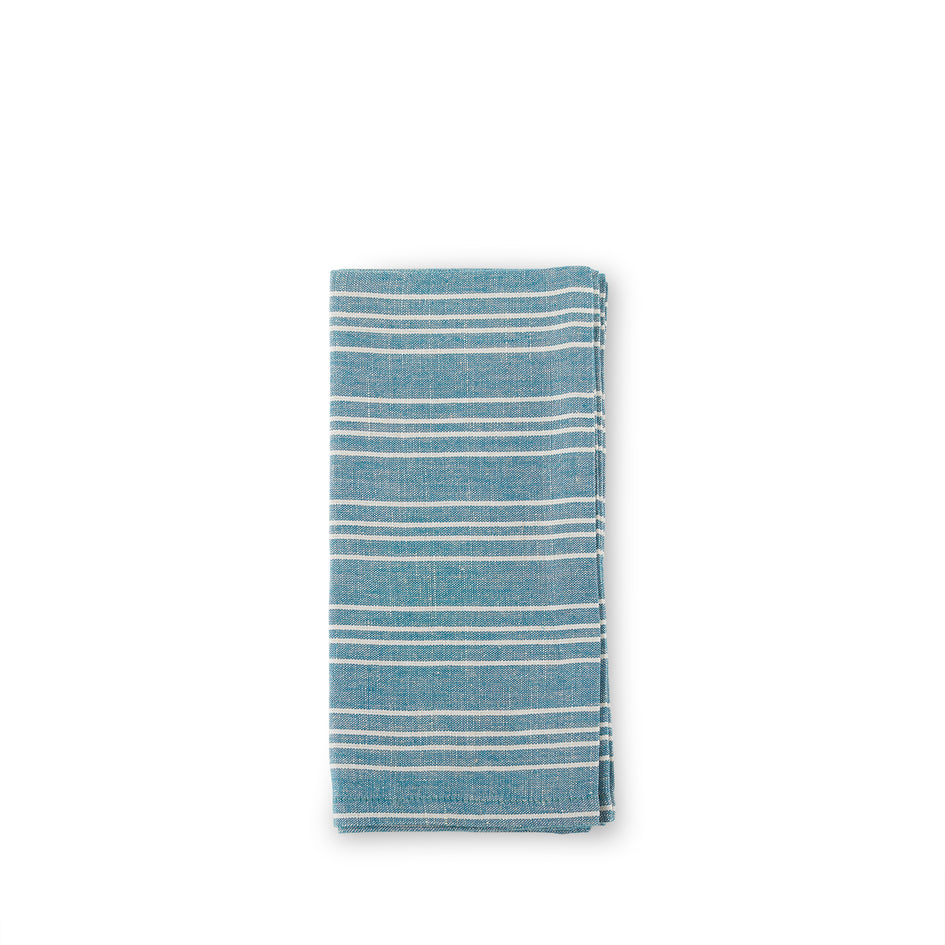 Cotton Linen Small Ticking Stripe Napkins in Teal (Set of 4) Image 1