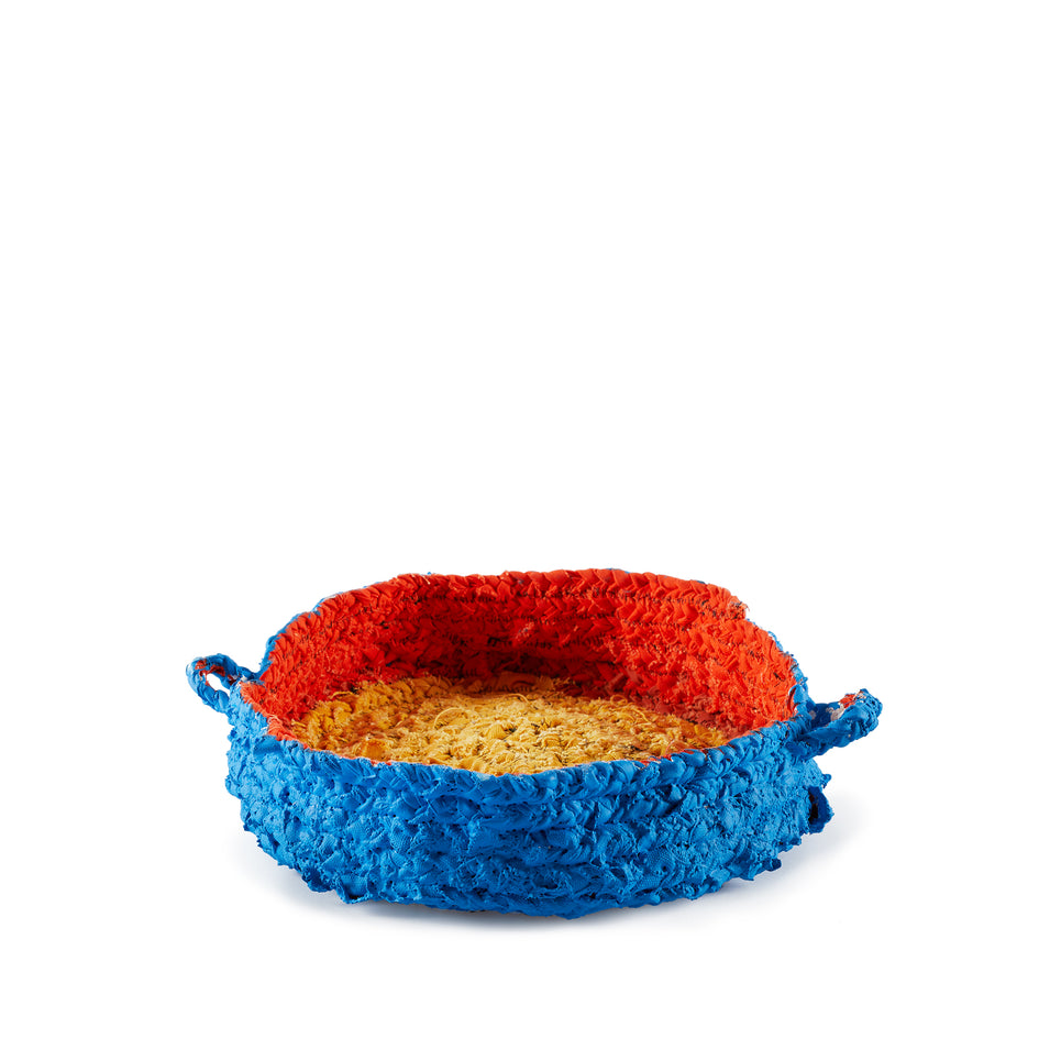 Small Round Nesting Tray in Blue and Orange Image 1