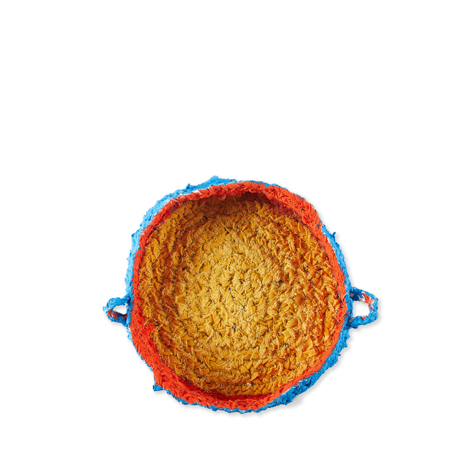 Small Round Nesting Tray in Blue and Orange Image 2