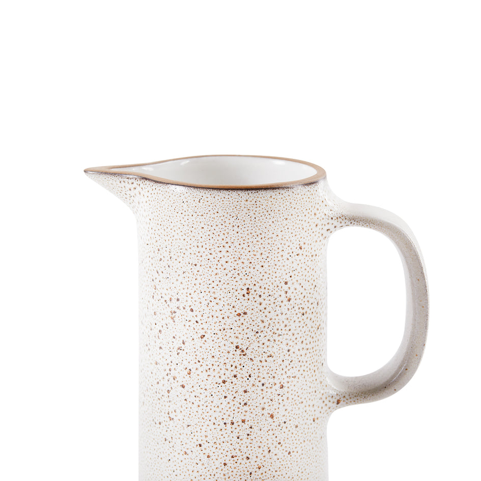 Small Pitcher in Opaque White and Matte Brown Image 3