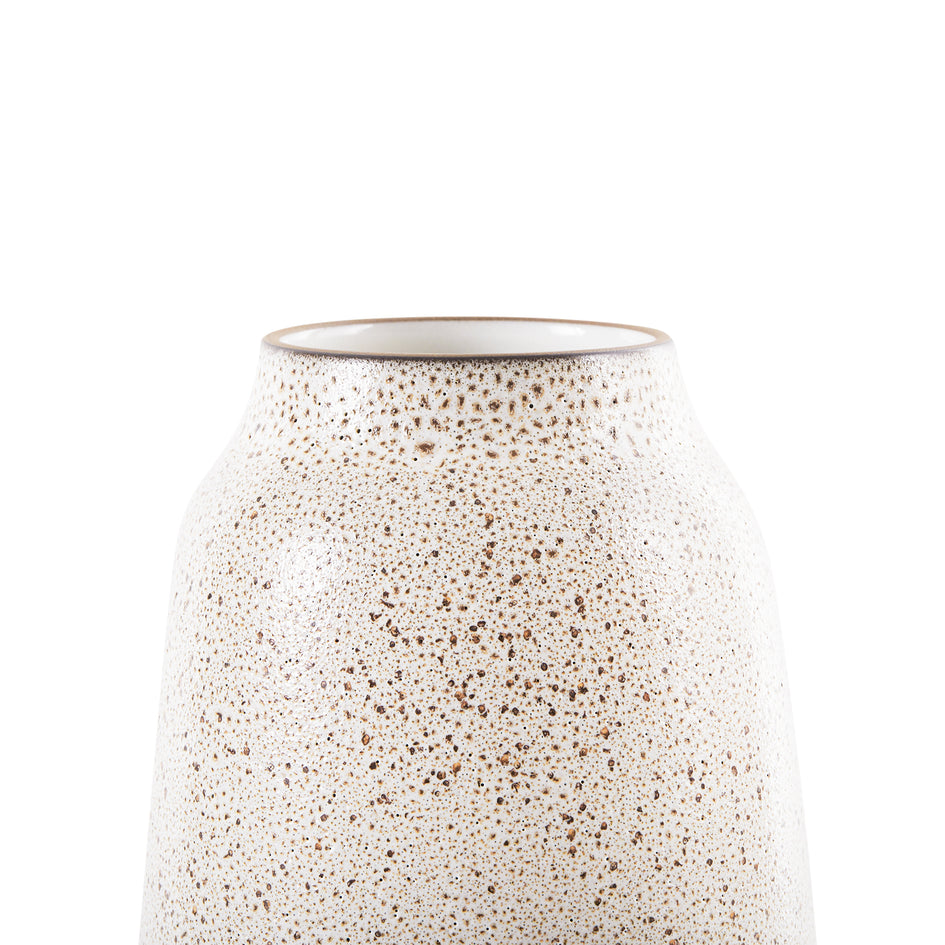 Wide Vase in Opaque White and Matte Brown Image 3