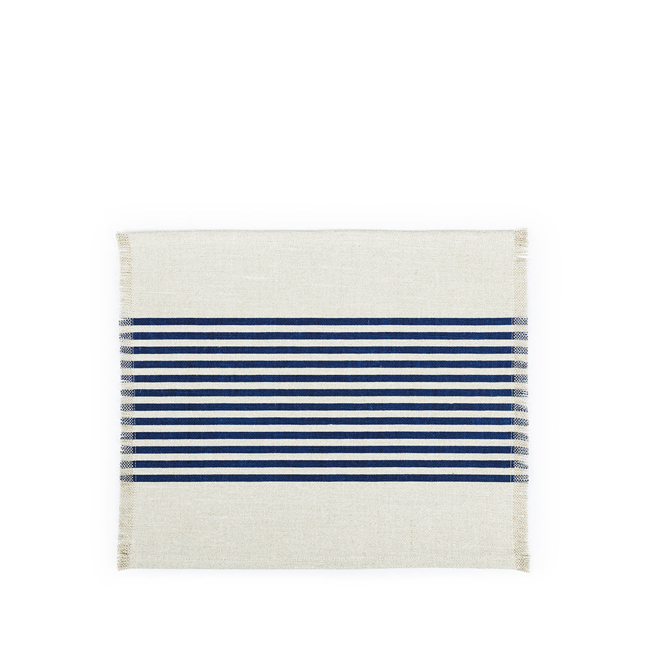 Wilde Linen Center Stripes Placemat in Blue Image 1