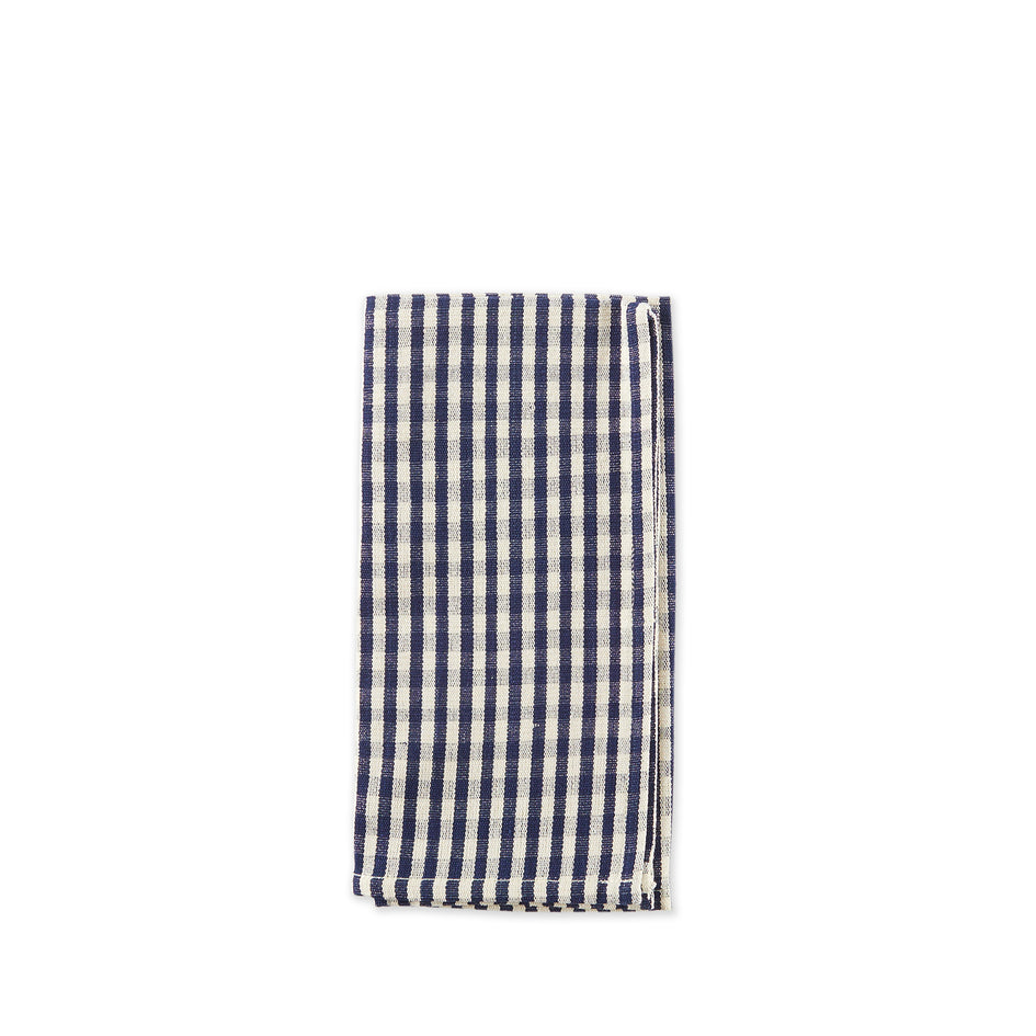 Cotton Gingham Napkin in Blue and Off-White Image 1
