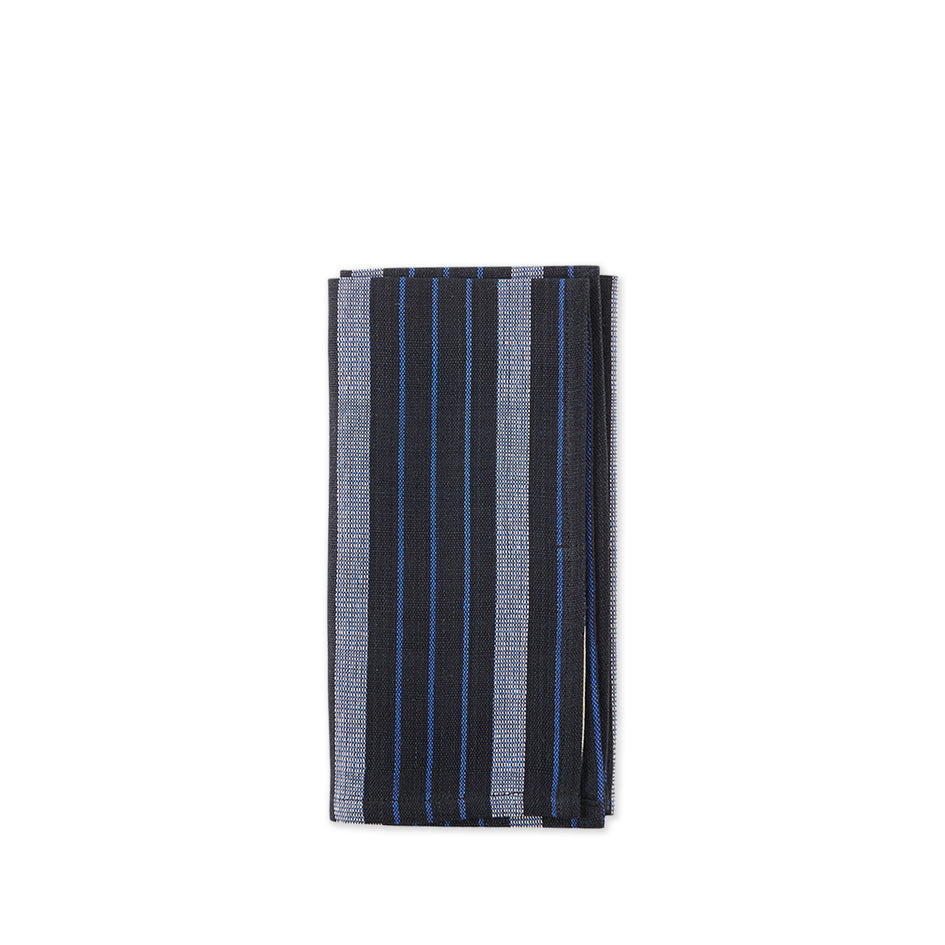 Cotton Striped Napkin in Blue and Black Image 1