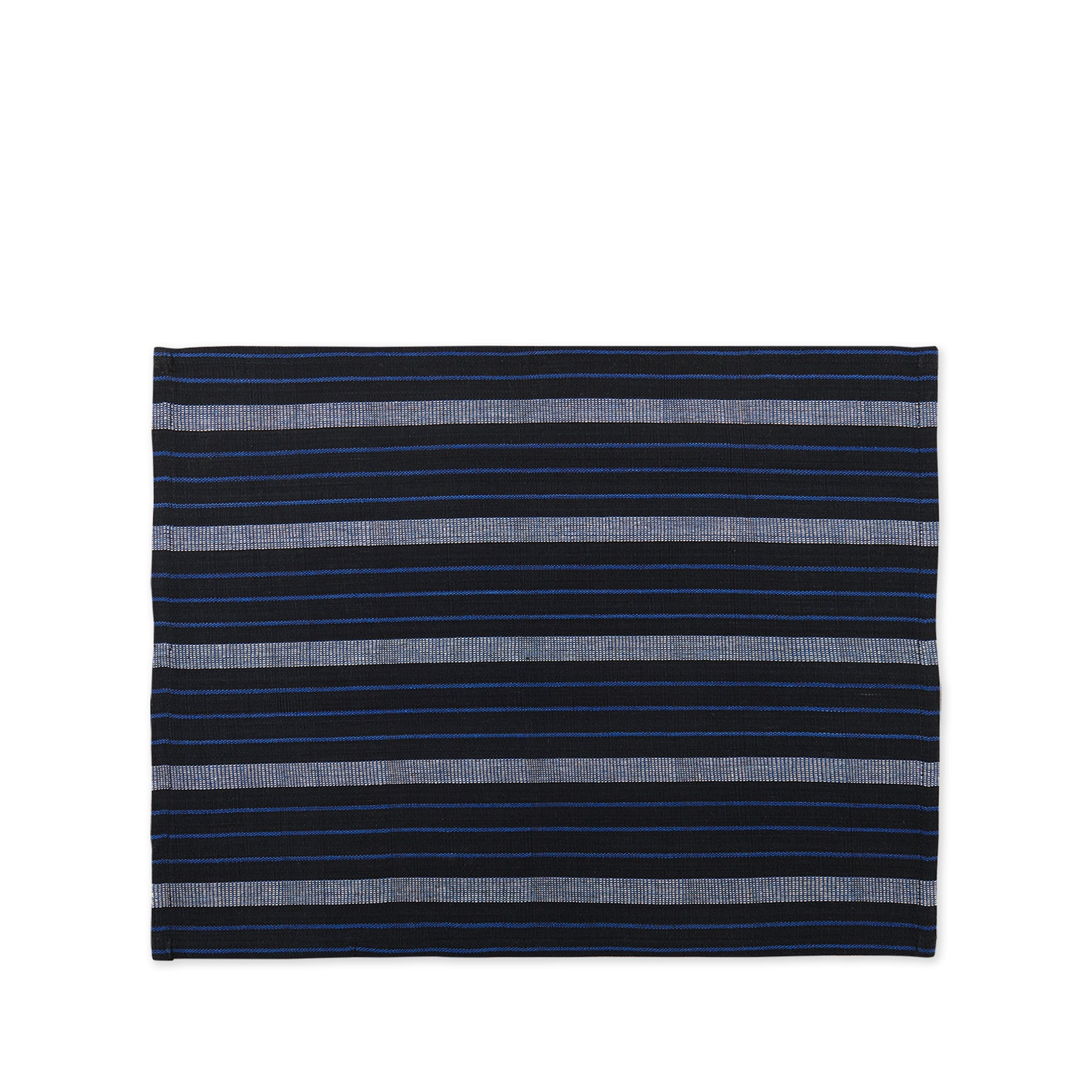 Cotton Striped Placemat in Blue and Black Zoom Image 1