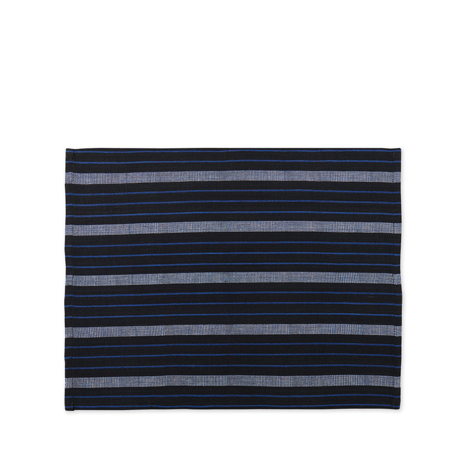 Cotton Striped Placemat in Blue and Black Image 1