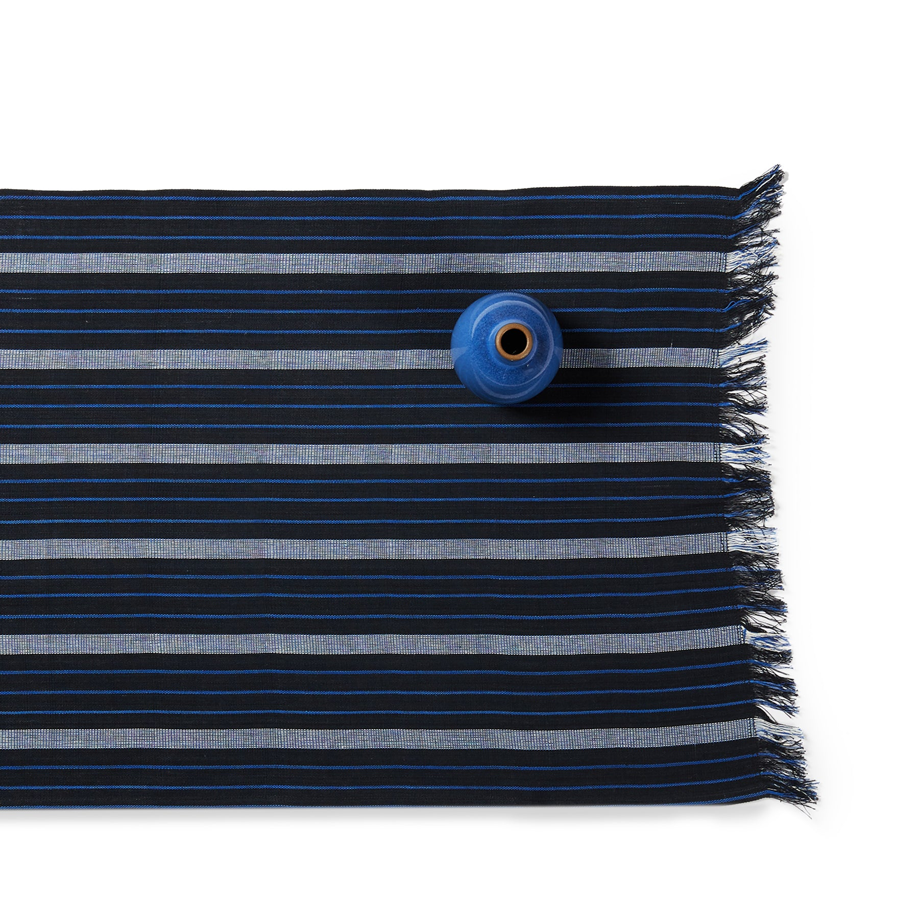 Cotton Striped Runner in Blue/Black Zoom Image 1