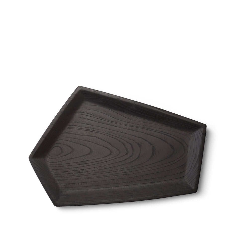 #10 Japanese Zelkova Pentagon Tray in Black Zoom Image 2