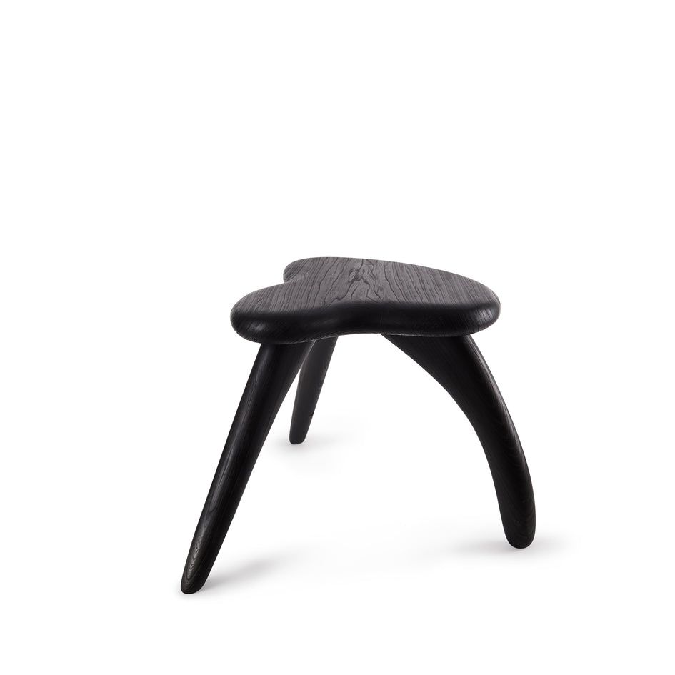 #2 Japanese Zelkova Stool in Black Image 1