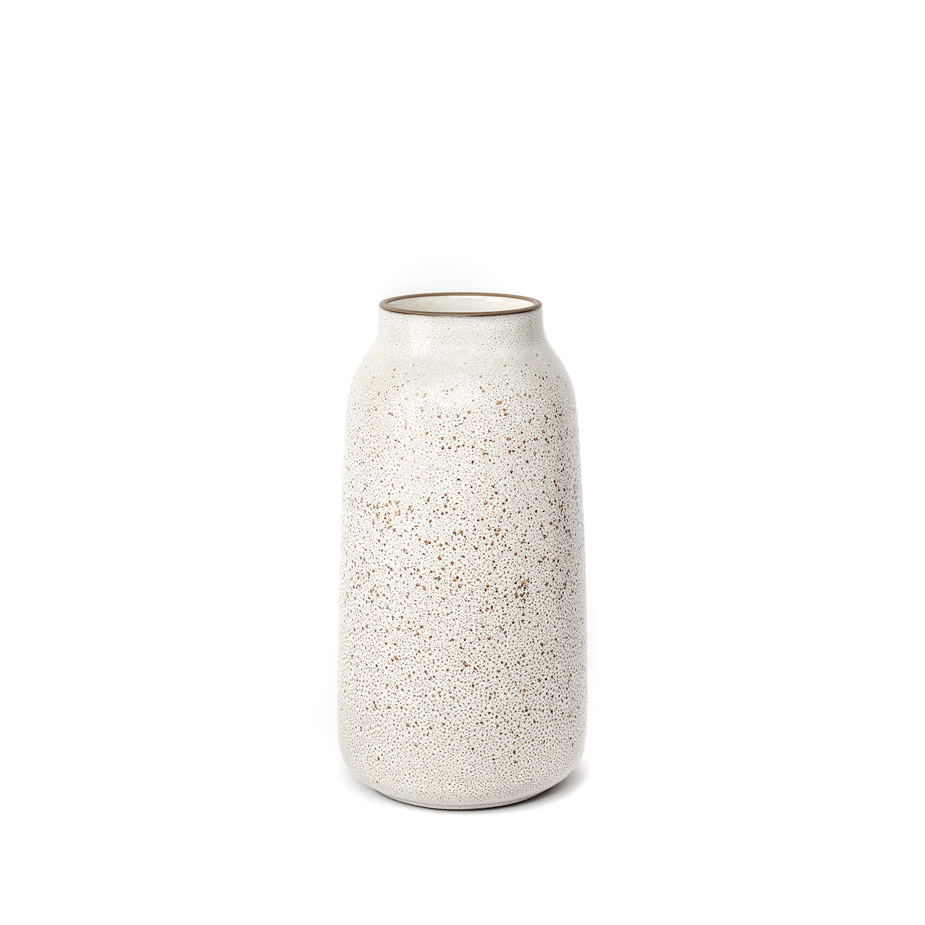 Tall Vase in Opaque White and Matte Brown Zoom Image 1