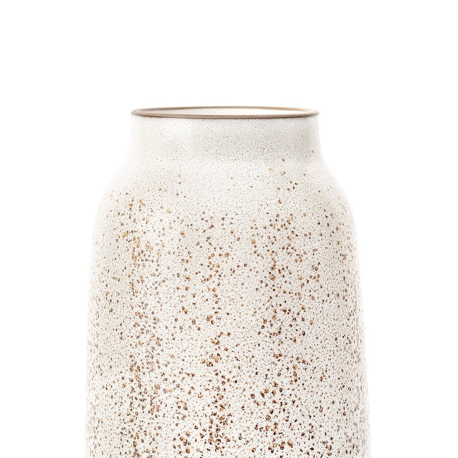 Tall Vase in Opaque White and Matte Brown Image 3