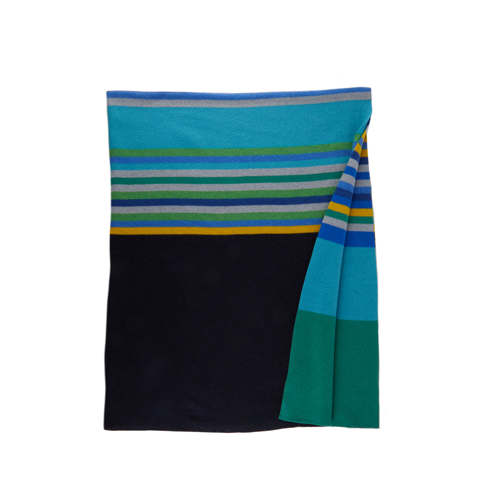 Merino Lambswool Bavington Throw in Pacific Image 1