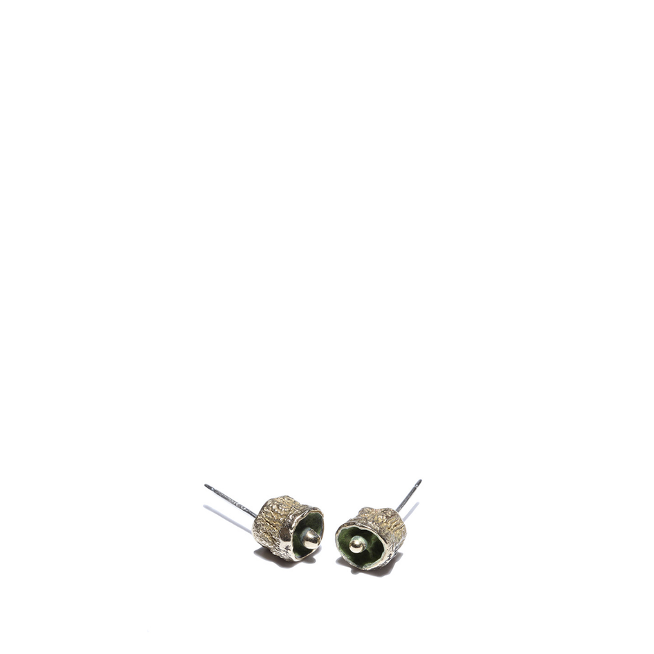Oxidized Brass Bell Pod Earrings Image 1