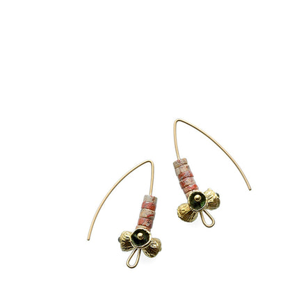 Brecciated Poppy Jasper Earrings with Brass Bell Pod Beads