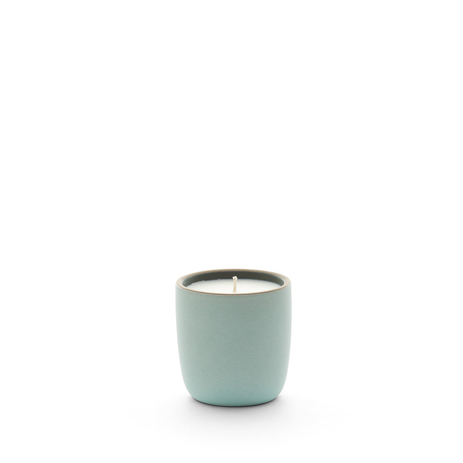 Violet Leaf and Fir Candle in Penny Green Cup Image 1