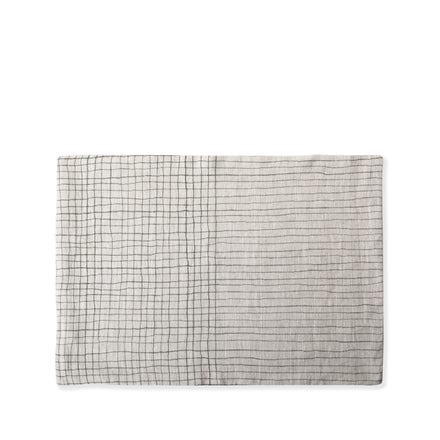 Linen Handpainted Thin Lines Placemat in Sage