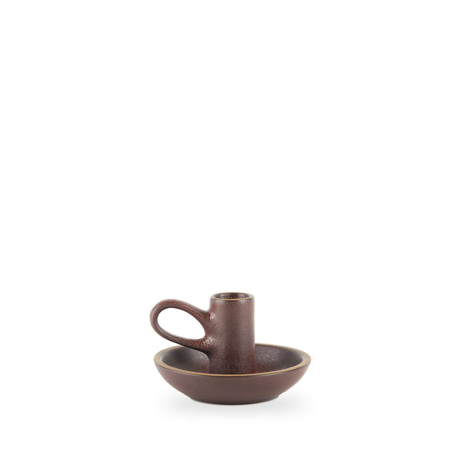 Chamberstick Candleholder in Redwood and Matte Brown Zoom Image 2