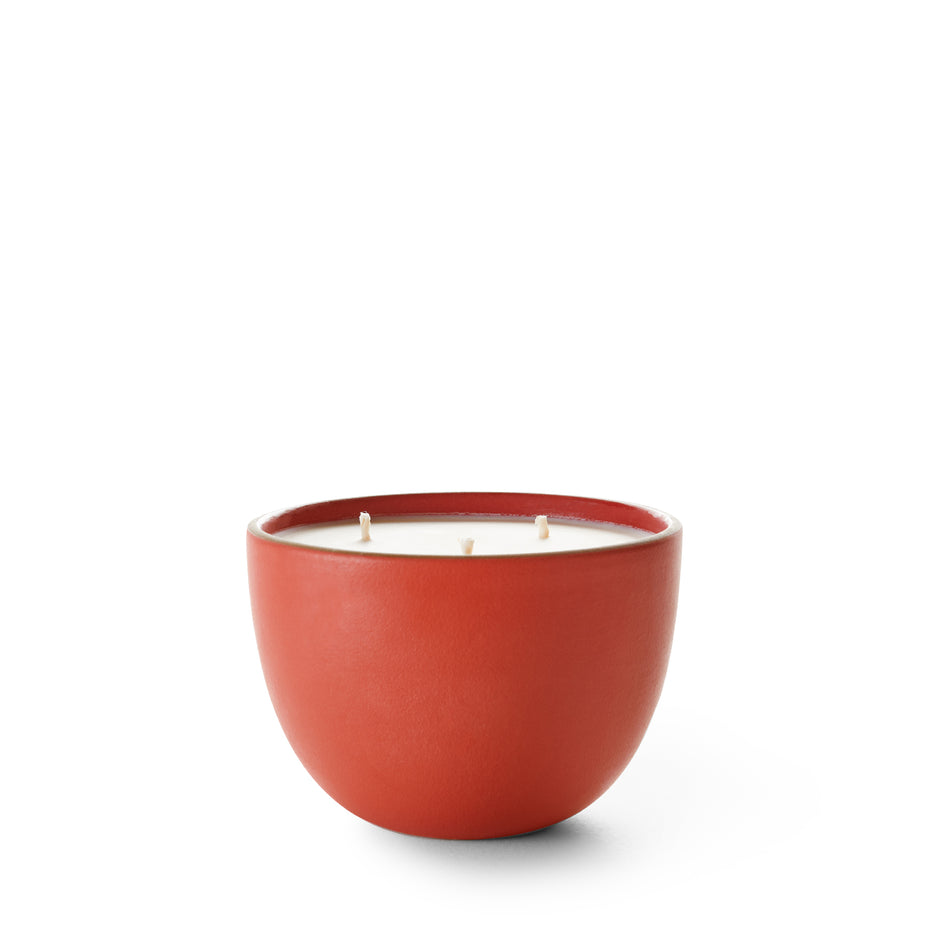 Pine and Cedarwood Candle in Suede Red Bowl Image 1