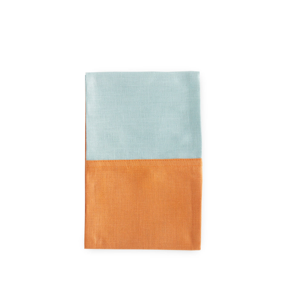 Color Block Tea Towel in Copper and Ocean Image 1
