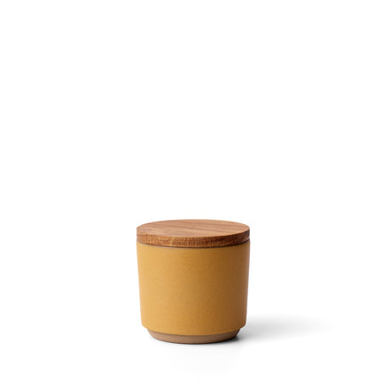 Container with White Oak Lid in Turmeric