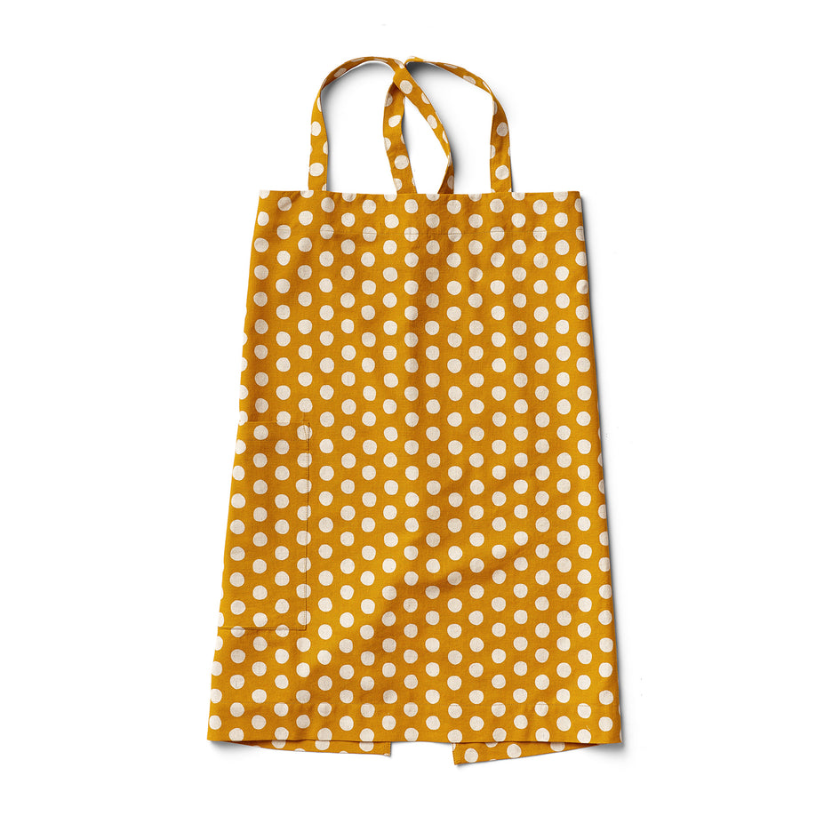 Cotton Linen Dot Apron in Mustard Image 1