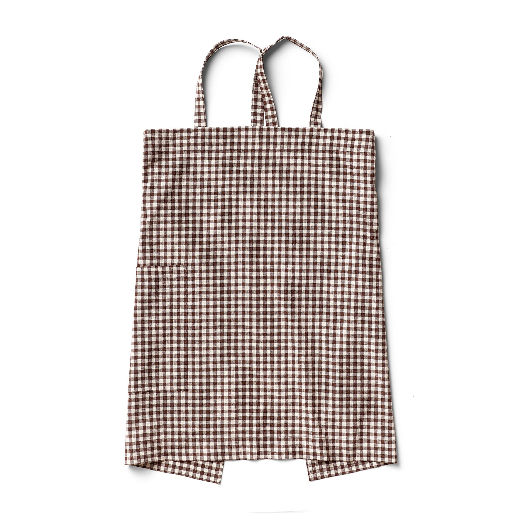 Cotton Linen Gingham Apron in Brown Zoom Image 1