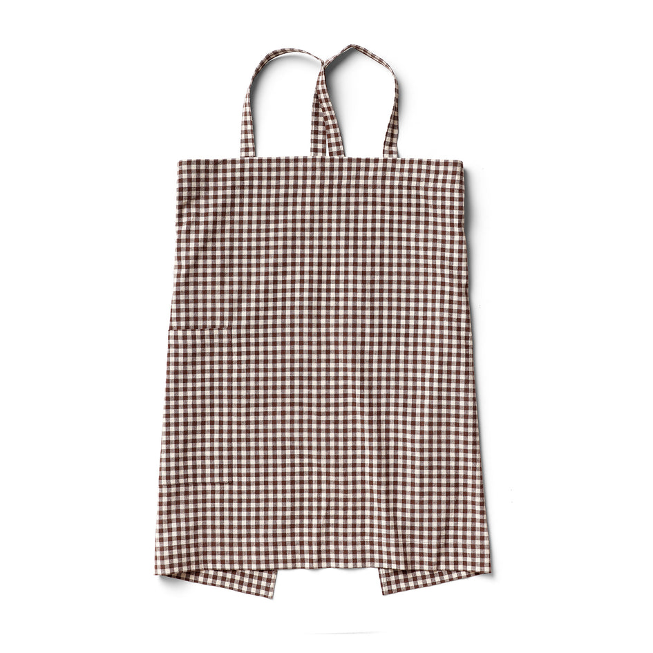 Cotton Linen Gingham Apron in Brown Image 1
