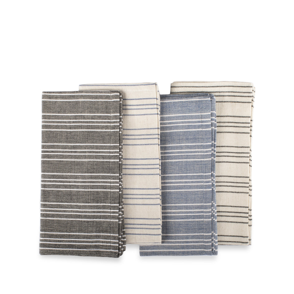 Cotton Linen Ticking Stripe Napkins (Set of 4) Image 2