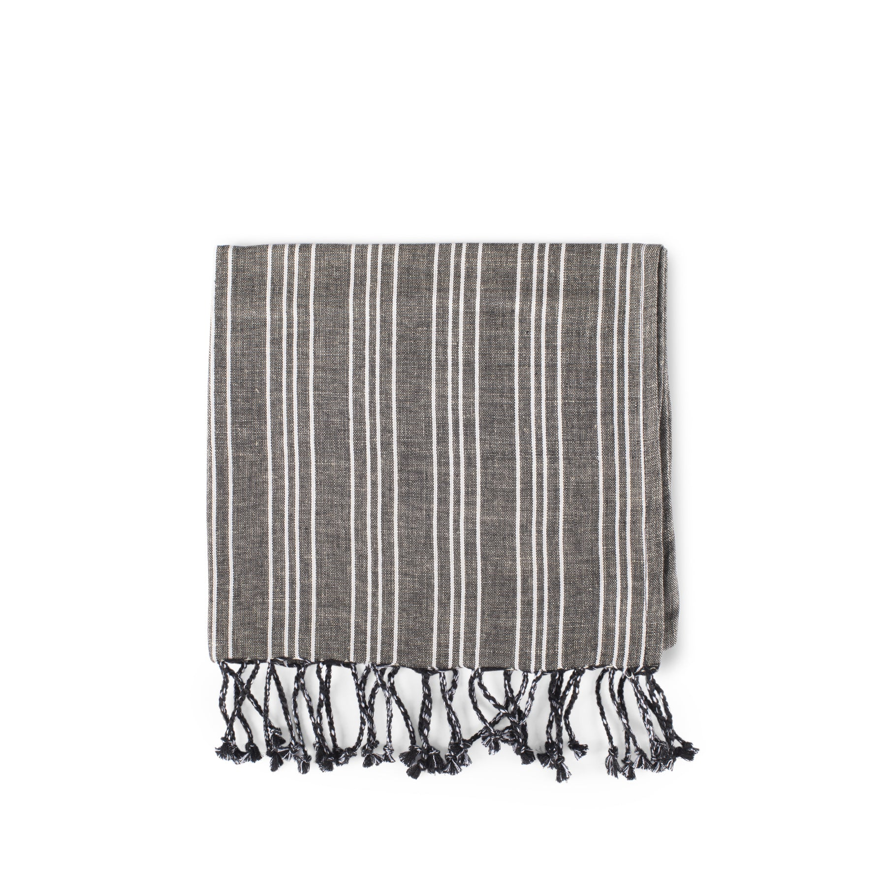 Cotton Linen Ticking Stripe Tea Towel in Black with Ivory Zoom Image 1