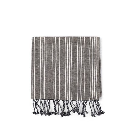 Cotton Linen Ticking Stripe Tea Towel in Black with Ivory