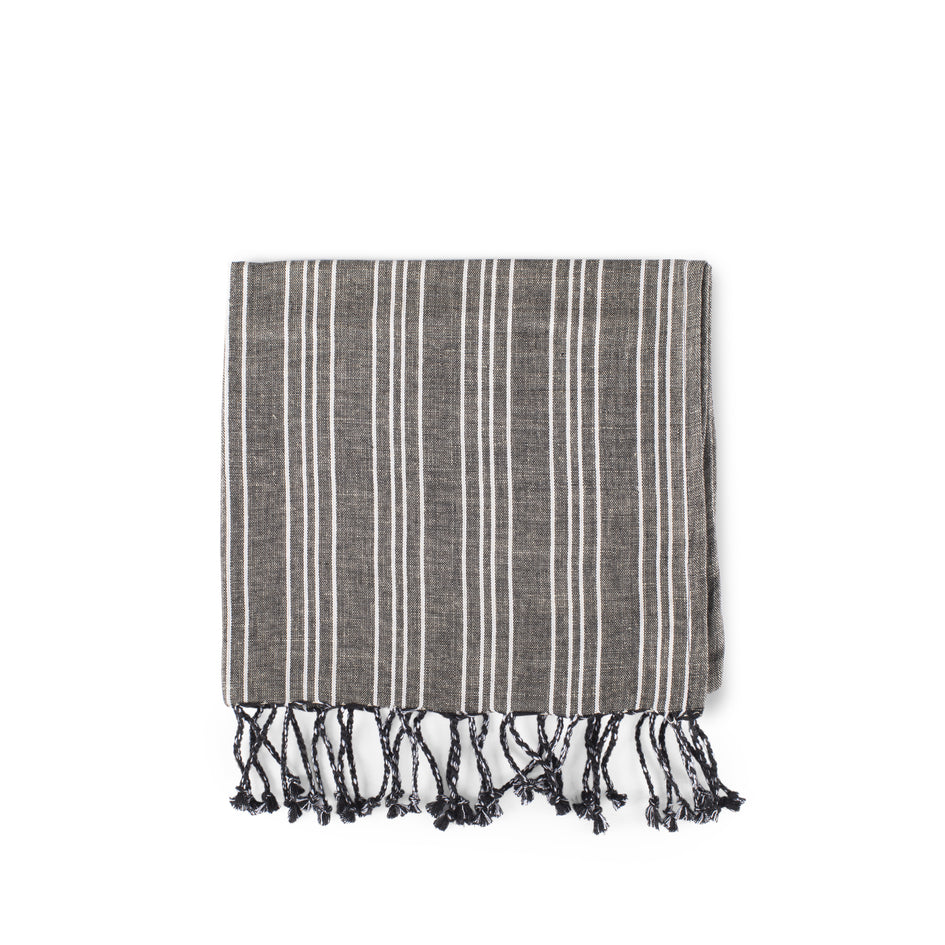 Cotton Linen Ticking Stripe Tea Towel in Black with Ivory Image 1