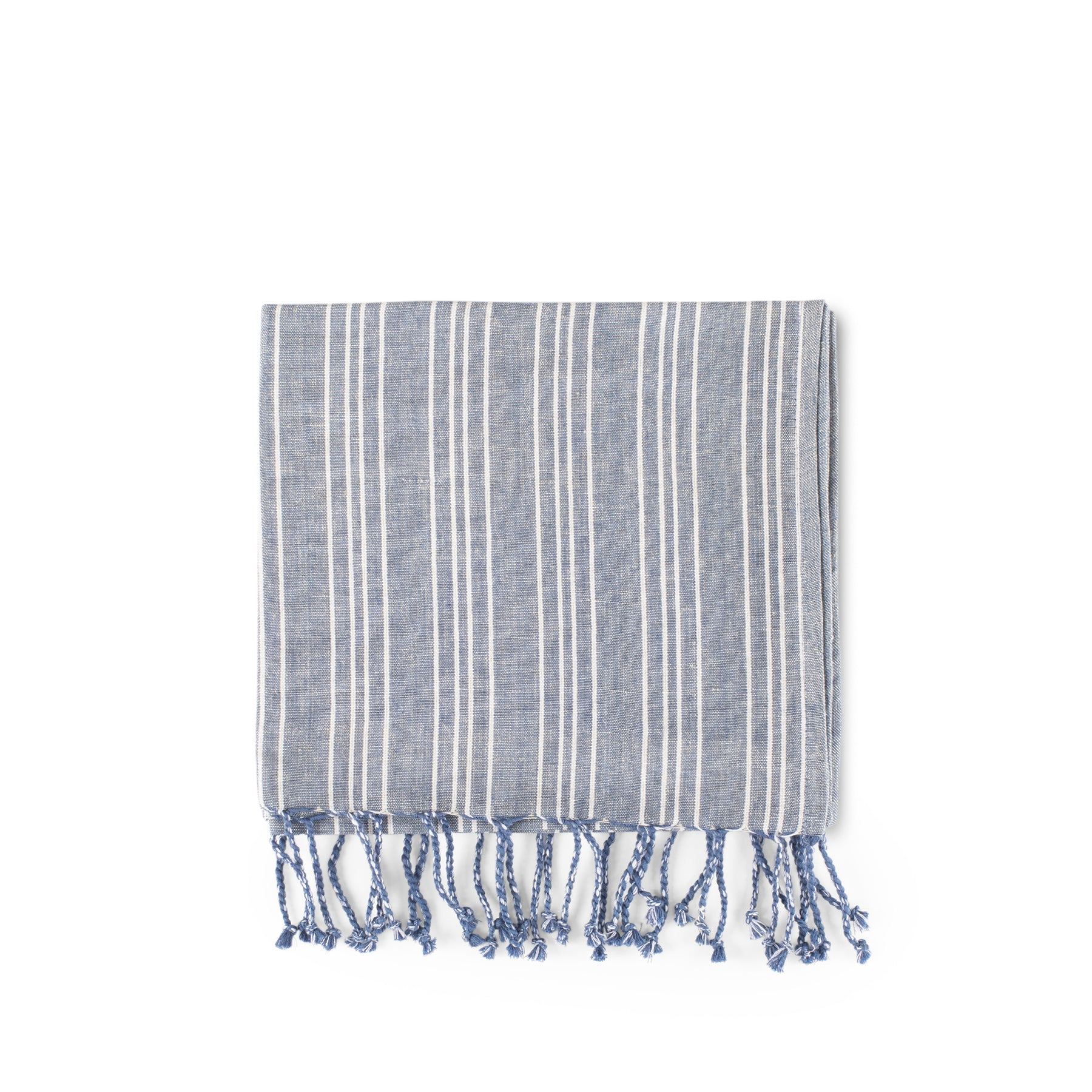 Cotton Linen Ticking Stripe Tea Towel in Blue with Ivory Zoom Image 1