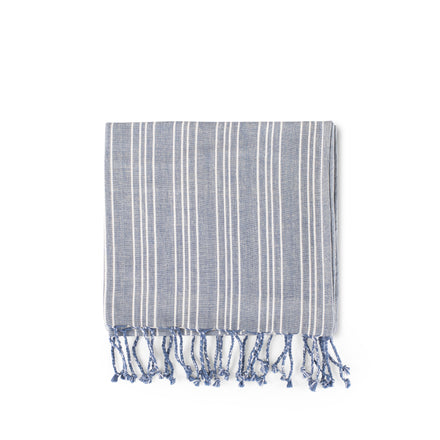 Cotton Linen Ticking Stripe Tea Towel in Blue with Ivory